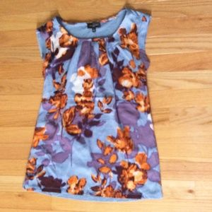 The Limited Blue Floral Top Blouse Size Small